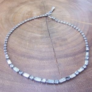 Vintage Petite Clear Rhinestone Necklace Signed Kr